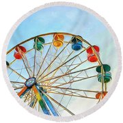 Round Beach Towel featuring the painting Wonder Wheel by Edward Fielding