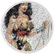 Wonder Woman Comics Mosaic Round Beach Towel by Paul Van Scott