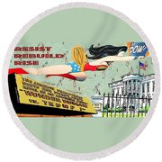 Wonder Women  Round Beach Towel by Linda Weinstock