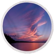 Round Beach Towel featuring the photograph Wonderful Skeleton Lake Sunset by Darcy Michaelchuk