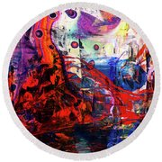 Wonderland - Colorful Abstract Art Painting Round Beach Towel