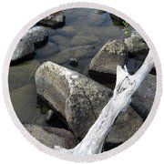 Wood And Rocks In Water Round Beach Towel