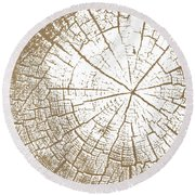 Wood And White- Art By Linda Woods Round Beach Towel by Linda Woods
