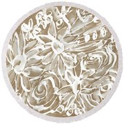 Wood And White Floral- Art By Linda Woods Round Beach Towel by Linda Woods