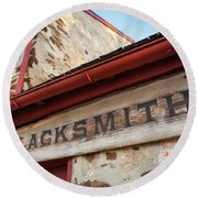 Wood Blacksmith Sign On Building Round Beach Towel