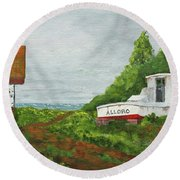 Round Beach Towel featuring the painting Wood Boat Works by Jack G Brauer