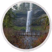 Wood Bridge On Hiking Trail At Silver Falls State Park Round Beach Towel