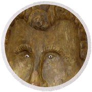 Round Beach Towel featuring the photograph Wood Carved Face by Francesca Mackenney