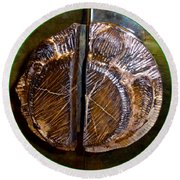 Round Beach Towel featuring the photograph Wood Carved Fossil by Francesca Mackenney