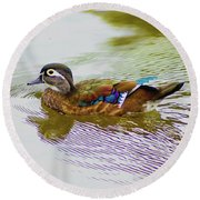 Wood Duck Hen Round Beach Towel