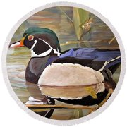 Round Beach Towel featuring the painting Wood Duck On Pond by Laurie Rohner