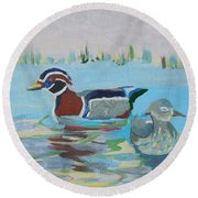 Wood Duck Pair Round Beach Towel
