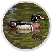 Round Beach Towel featuring the photograph Wood Duck by Sandy Keeton