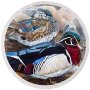 Wood Ducks  Round Beach Towel by Marilyn  McNish