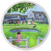 Woods Hole Golf Club Wedding Round Beach Towel