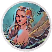 Wood Nymph Round Beach Towel by Kathy Kelly