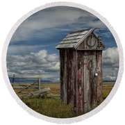 Wood Outhouse Out West Round Beach Towel