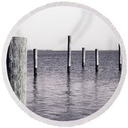 Round Beach Towel featuring the photograph Wood Pilings In Monotone by Colleen Kammerer