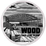 Round Beach Towel featuring the painting Wood Shelters Our Planes - Ww2 by War Is Hell Store