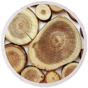 Wood Slices- Art By Linda Woods Round Beach Towel by Linda Woods