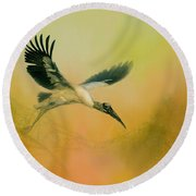 Round Beach Towel featuring the photograph Wood Stork Encounter by Marvin Spates