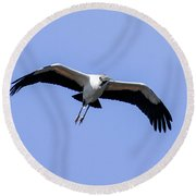 Wood Stork Round Beach Towel by Gary Wightman
