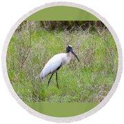 Wood Stork In The Marsh Round Beach Towel