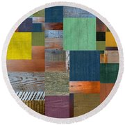 Round Beach Towel featuring the digital art Wood With Teal And Yellow by Michelle Calkins