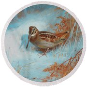 A Woodcock In The Snow Round Beach Towel