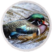 Woodduck Portrait Round Beach Towel by Ronda Ryan