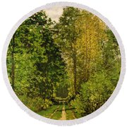 Wooded Path Round Beach Towel