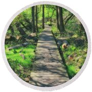 Wooded Path - Spring At Retzer Nature Center Round Beach Towel by Jennifer Rondinelli Reilly - Fine Art Photography