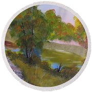 Wooded Scene Round Beach Towel