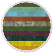 Wooden Abstract Lll Round Beach Towel