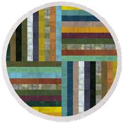 Wooden Abstract V  Round Beach Towel