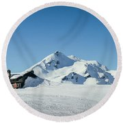 Wooden Alpine Cabin  Round Beach Towel