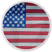 Round Beach Towel featuring the photograph Wooden American Flag by Bill Cannon