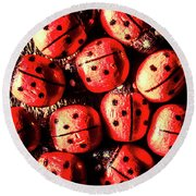Wooden Beetle Bugs Round Beach Towel