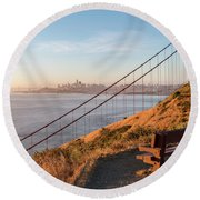 Wooden Bench Overlooking Downtown San Francisco With The Golden  Round Beach Towel