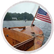 Wooden Boat And Pentwater Channel Round Beach Towel
