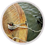 Wooden Boat On Pentwater River Round Beach Towel