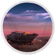 Wooden Boat Round Beach Towel