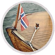 Wooden Boat With Norwegian Flag Round Beach Towel