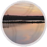 Wooden Bridge And Twilight Round Beach Towel