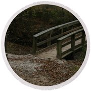 Round Beach Towel featuring the photograph Wooden Bridge by Kim Henderson