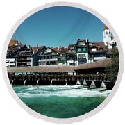 Round Beach Towel featuring the photograph Wooden Bridge by Mimulux patricia no No
