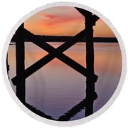 Wooden Bridge Silhouette At Dusk Round Beach Towel