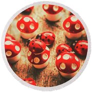 Wooden Bugs And Plastic Toadstools Round Beach Towel