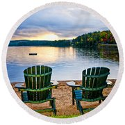 Wooden Chairs At Sunset On Beach Round Beach Towel