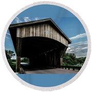Wooden Covered Bridge In Rural Illinois Round Beach Towel